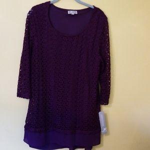 Ladies JM Collection Purple Lace Shirt (Lined)